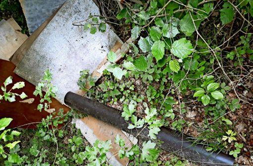 Asbestplatten und ein Sofa im Wald