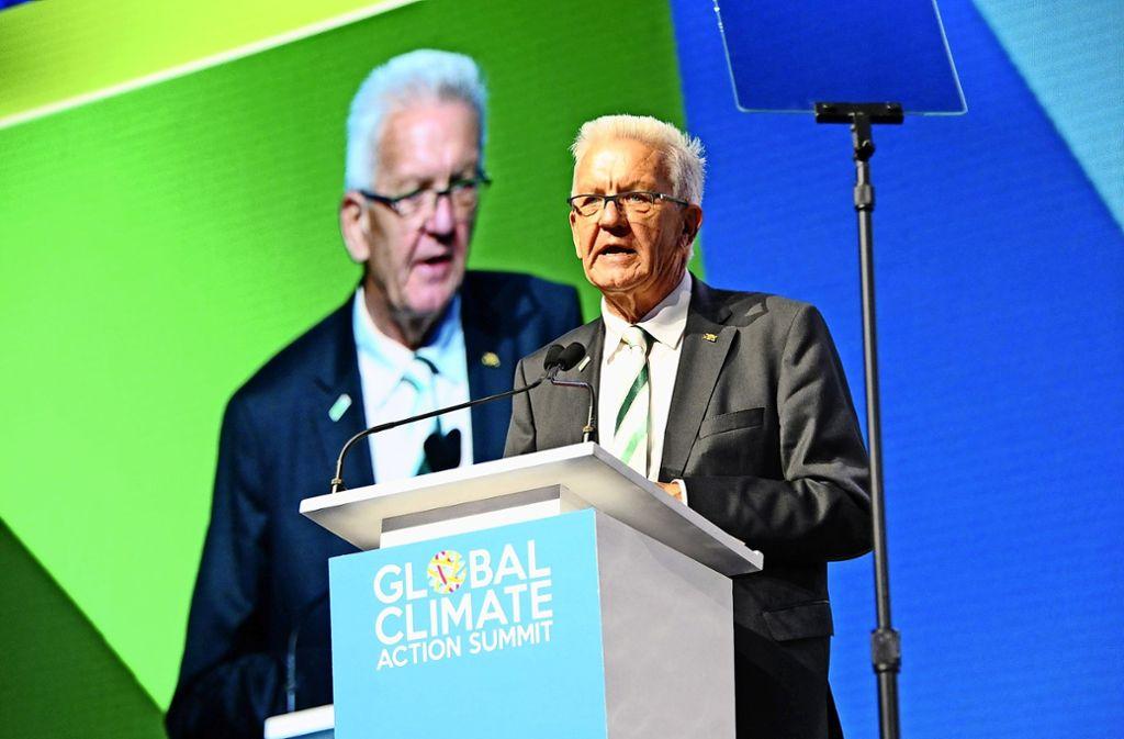 "Ministerpräsident Winfried Kretschmann spricht auf dem ""Global Climate Action Summit"" in San Francisco. Foto: dpa"