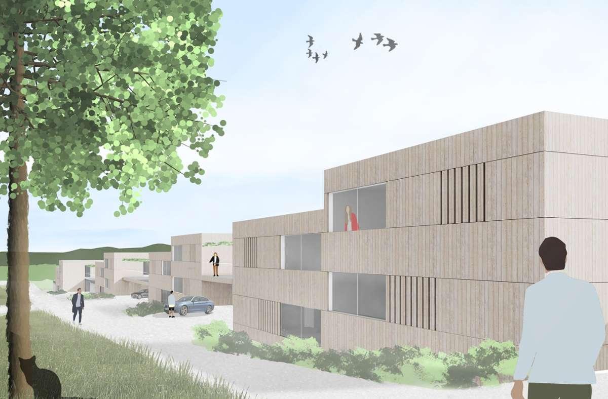 So sollen sich die Doppelhäuser in Stumpenhof-Süd präsentieren. Foto: oh