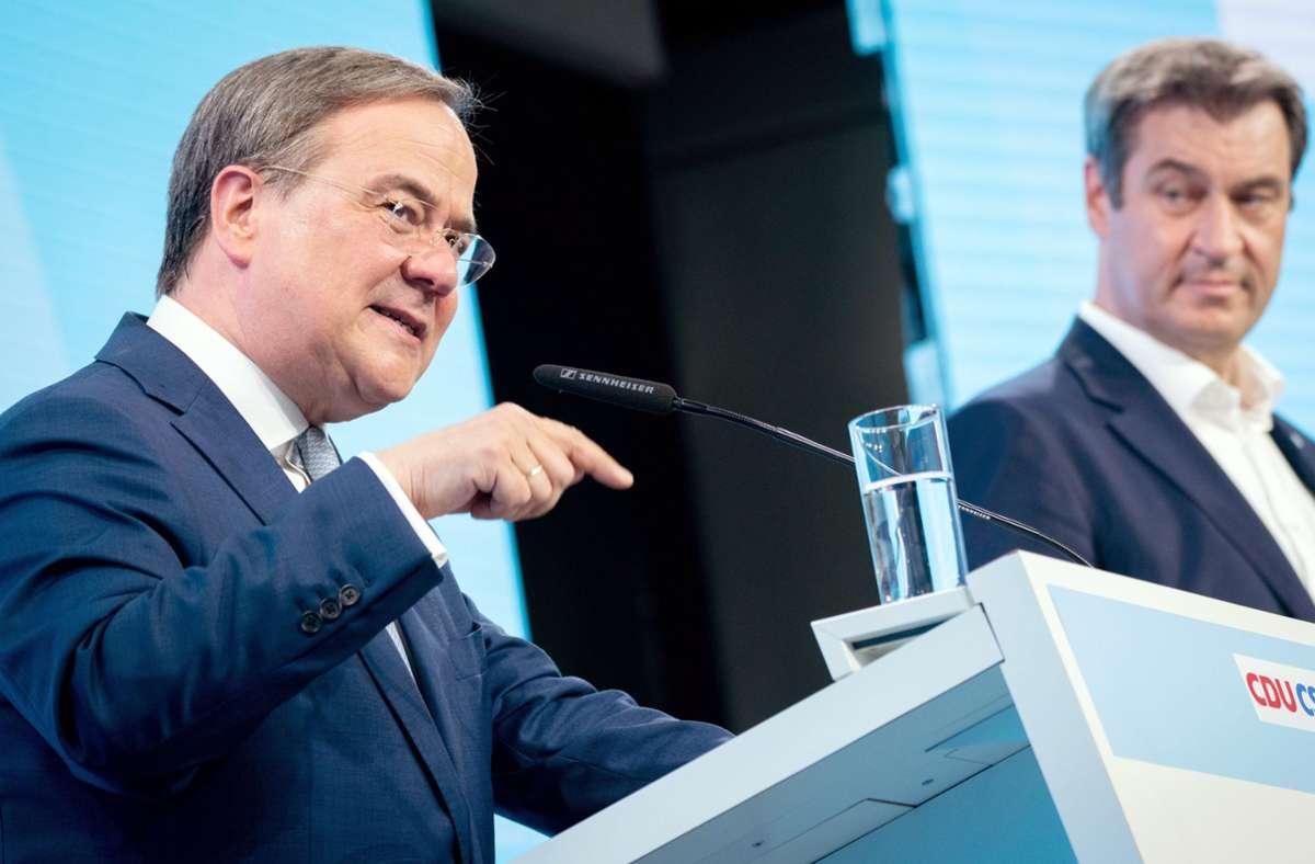 Die CDU- und CSU-Parteichefs Armin Laschet (links) und Markus Söder wollen mit der Union bei der Bundestagswahl punkten. Foto: dpa/Kay Nietfeld