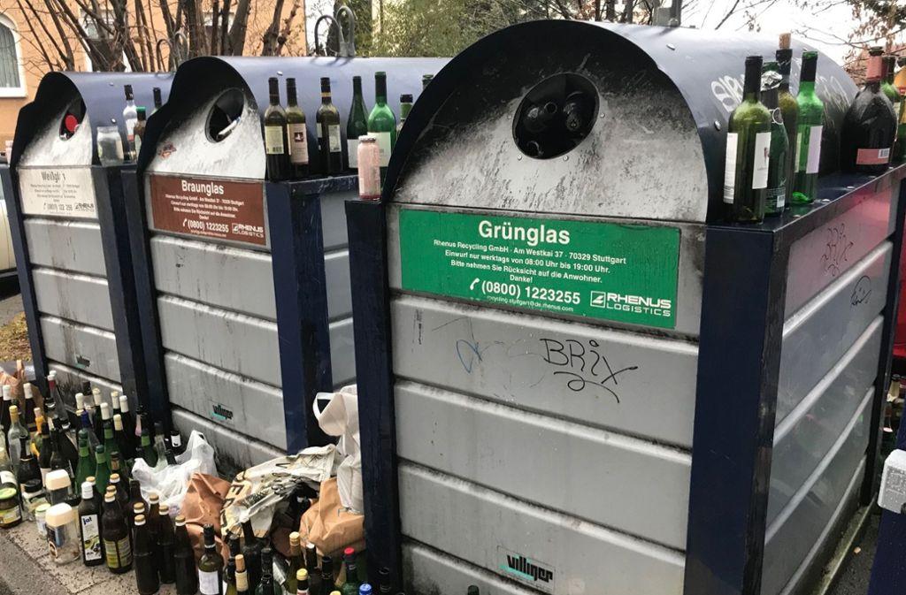 In den vergangenen Monaten gab es in Stuttgart Unmut über Altglascontainer, sei es, weil sie nicht geleert wurden oder weil sich die Nachbarn wegen des Lärms gestört fühlen. Foto: Archiv Julia Bosch