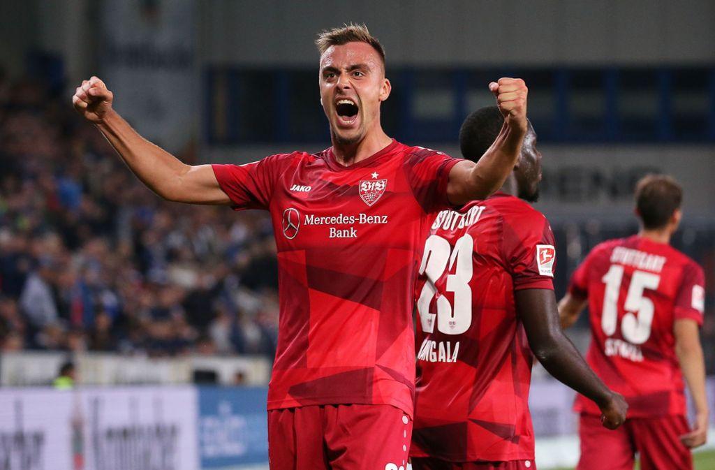 """Philipp Förster vom VfB Stuttgart ist unser """"Spieler des Spiels"""" gegen DSC Arminia Bielefeld. Foto: Pressefoto Baumann/Julia Rahn"""