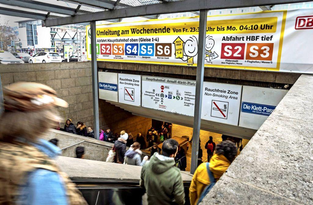 Die S-Bahnumleitungen im Hauptbahnhof zu Anfang des Jahres bleiben nicht die einzigen Einschränkungen in diesem Jahr. Auf die  Kunden  warten weitere. Foto: Lichtgut/Rettig