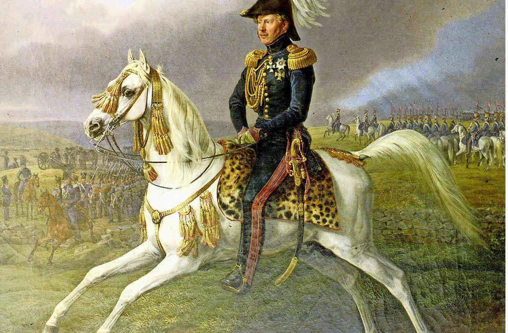 Das berühmte Gemälde von 1838: König Wilhelm I. auf seinem Leibhengst Bairactar Foto: Archiv Haupt- und Landgestüt