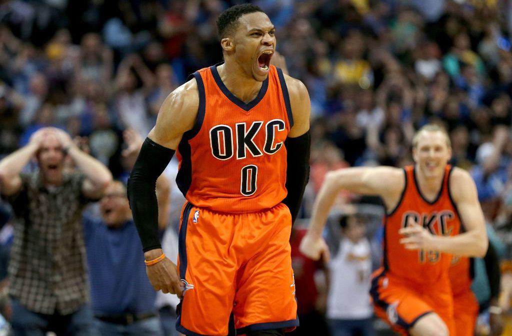 Nummer 0 ist nicht zu stoppen: Russell Westbrook lässt seiner Freude freien Lauf. Foto: AP