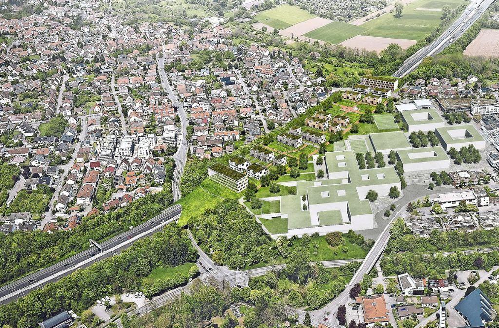 Der Deckel über der A81 soll eine Schnittstelle zwischen dem Ortsteil Geisingen (links der Autobahn) und dem neuen Zentrum mit dem Neubau der Oscar-Paret-Schule bilden. Bürogebäude sind als zusätzlicher Schutz vor Lärm von der Straße vorgesehen . Foto: Visualisierungen/Entwurf: Stadt Freiberg