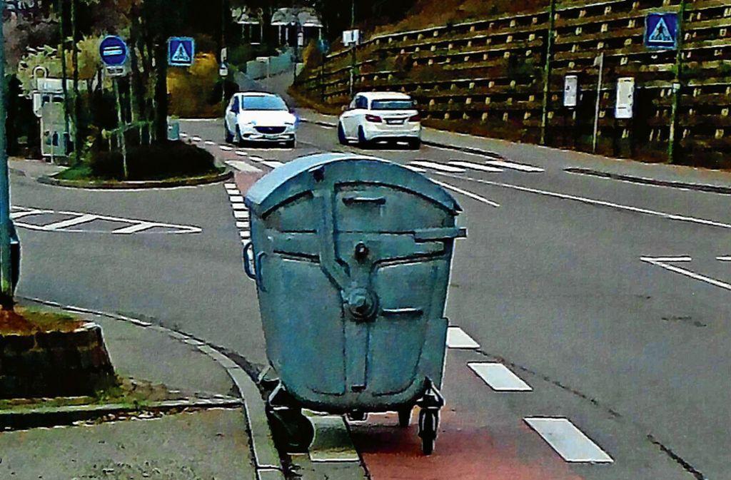 Unser Leser Elk Hess hat den herrenlosen Container mehrfach an unterschiedlichen Stellen vorgefunden. Foto: Elk Hess