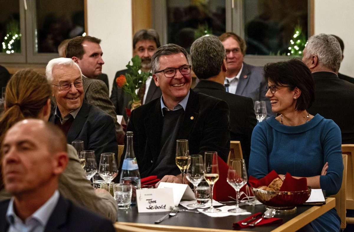 Geballte Fellbacher OB-Kompetenz: Gabriele Zull mit ihren Vorgängern Kiel und Palm (rechts). Foto: Nicklas Santelli