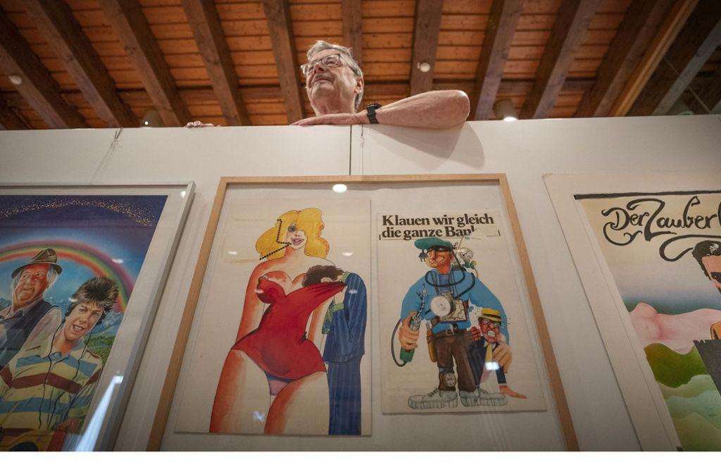"""Siegfried Groß hat etliche Filmplakate entworfen – zum Beispiel das für den Woody-Allen-Streifen """"Was Sie schon immer über Sex wissen wollten"""" (links). Foto: Gottfried Stoppel"""