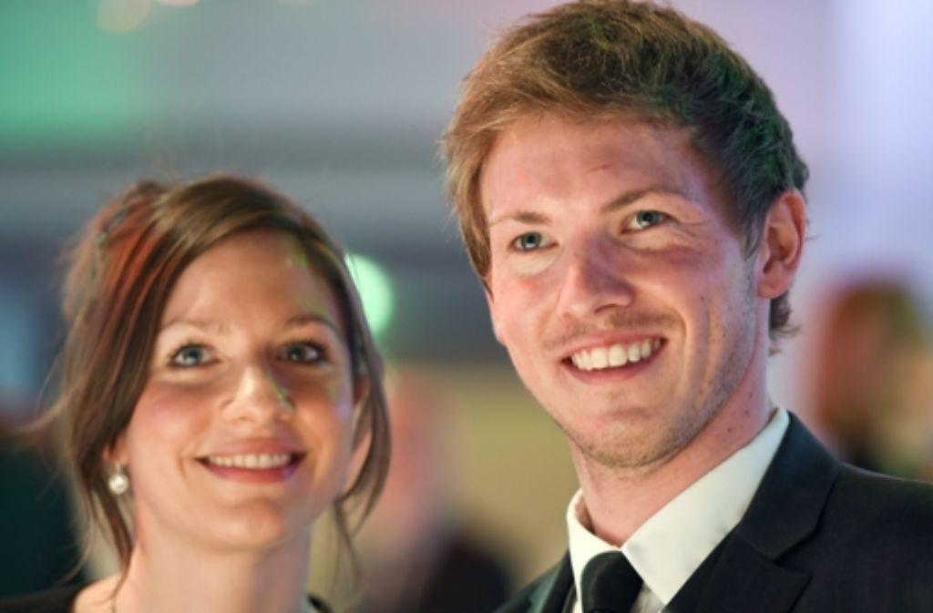 Hoffenheim-Trainer Julian Nagelsmann mit seiner Partnerin Verena. Foto: dpa