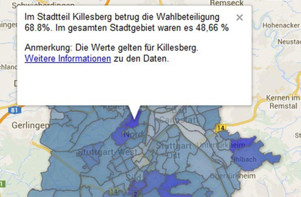 ... war die Wahlbeteiligung 2009 am Killesberg am höchsten - und in Cannstatt-Veielbrunnen am niedrigsten. Foto: Screenshot