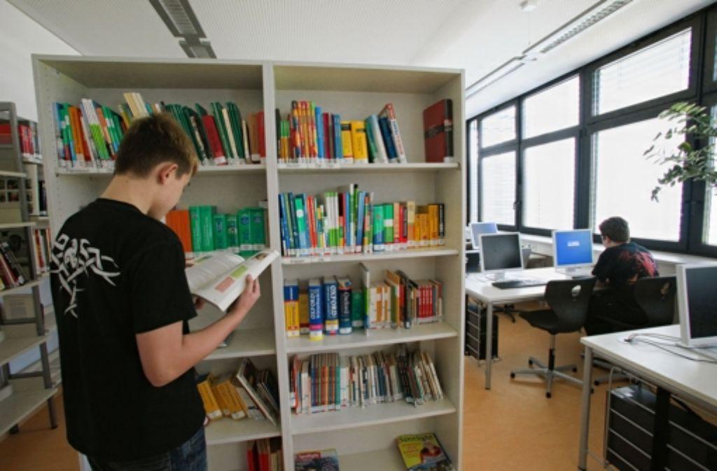 Lerneifrige Schüler nutzen das Angebot an Nachschlagewerken. Foto: Patricia Sigerist