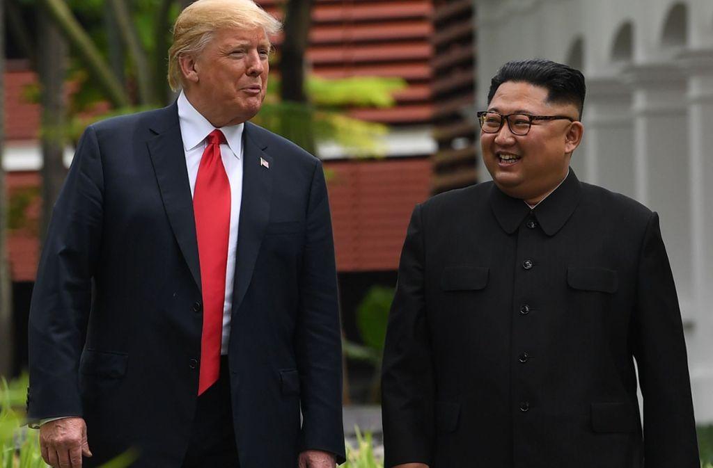 Manche Zocker tippen darauf, dass Donald Trump und Kim Jong-un den Friedennobelpreis bekommen. Ihre Wahl gilt aber als sehr unwahrscheinlich. Foto: AFP