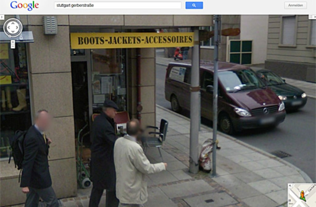 20 Jahre lang stand der 90 Zentimeter hohe Coyboystiefel an der Ecke Gerberstraße/Christophstraße - bis zum 12. April 2012. Foto: SIR (Screenshot Google)