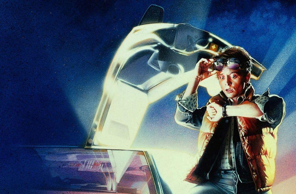 """Michael J. Fox als Marty McFly auf dem Filmplakat von """"Zurück in die Zukunft"""" (1985) Foto: Universal"""