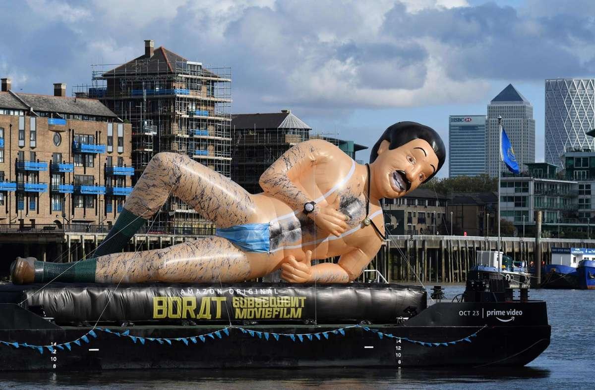 """Ein Werbeboot für den neuen """"Borat""""-Film auf der Themse in London Foto: AFP/Yui Mok"""