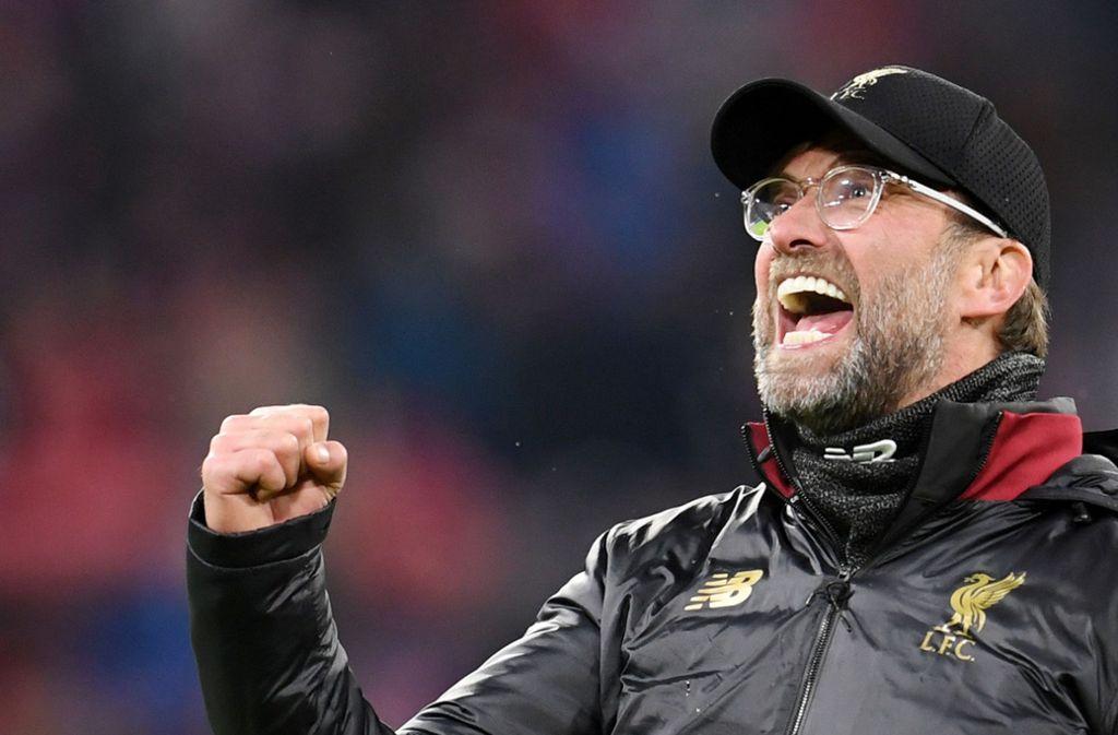 Liverpools Trainer Jürgen Klopp jubelte, als er im Achtelfinale die Bayern bezwang. Foto: dpa