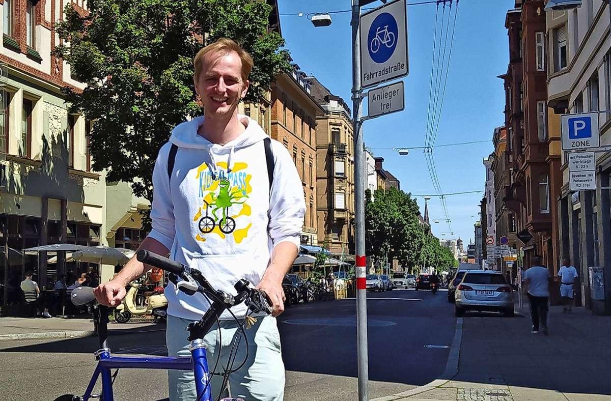 Thijs Lucas setzt sich für für mehr Sicherheit im Radverkehr ein. Foto: Alexandra Kratz