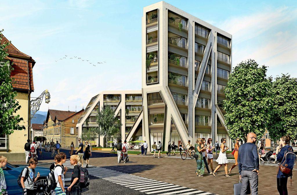 Der Entwurf von Projektbau Pfleiderer, Kreisbau und BPD für den Kronenplatz ist mit 20 von 24 Stimmen  gewählt worden. Foto: Pfleiderer