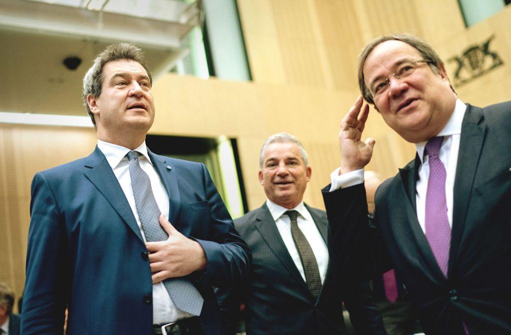 CDU-Bundesvize Thomas Strobl (rechts) ärgert sich über die Äußerungen von CSU-Chef Markus Söder. Foto: dpa/Kay Nietfeld