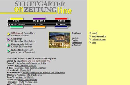Die Homepages der StZ von 1998 bis heute
