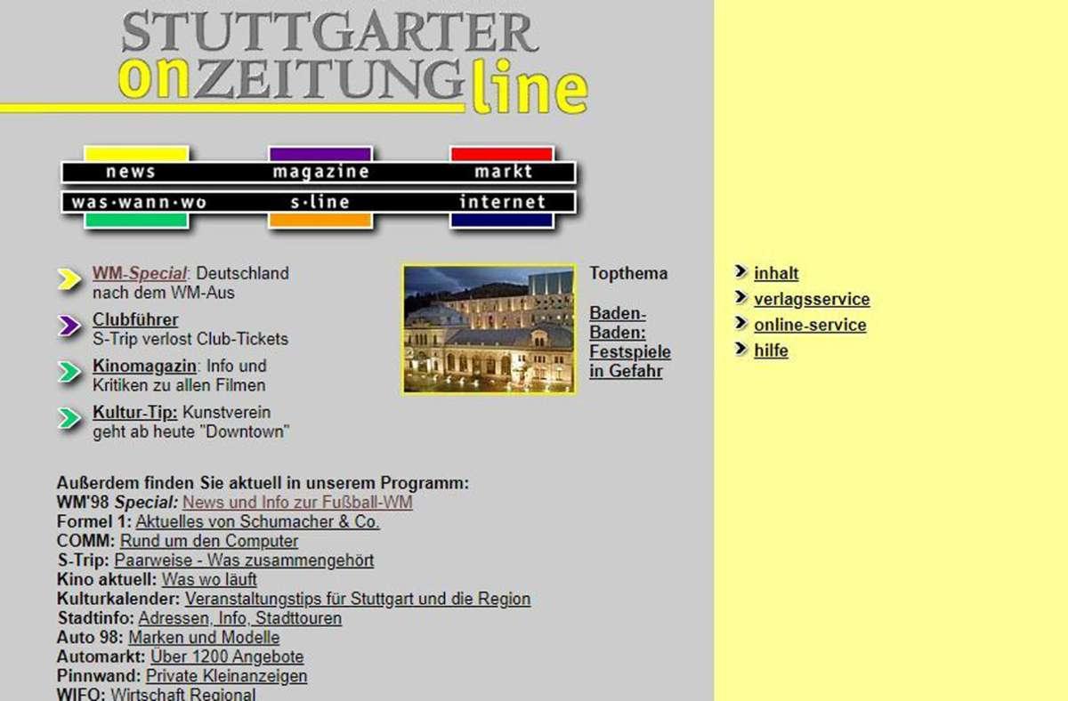 Mit dieser Startseite hat die Stuttgarter Zeitung 1997 das Neuland Internet betreten. Foto: StZ