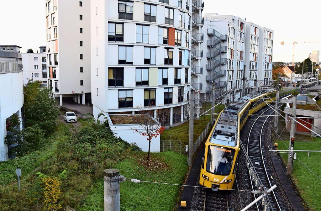 Die Möhringer Kurve wird zwischen der Rückseite des Kauflands (links im Bild) und dem Studentenwohnheim verlaufen. Foto: