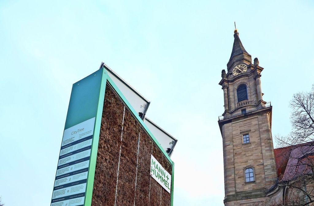 Schöner Name, keine Wirkung: der Green City Tree an der Ludwigsburger Friedenskirche kommt weg. Foto: factum/Simon Granville