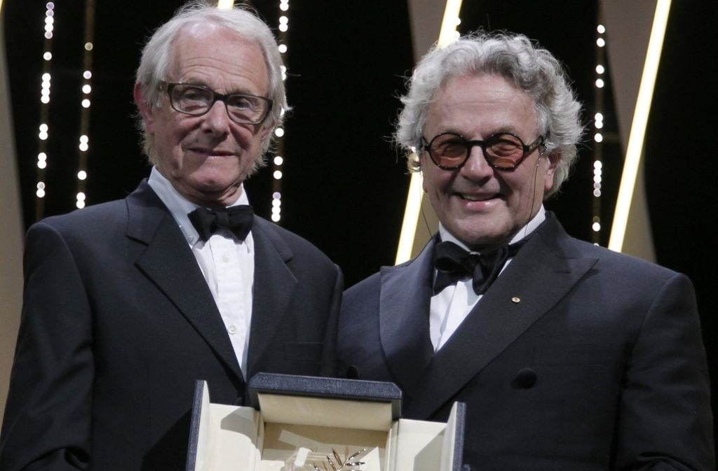 Loach (l.) mit dem Jury-Vorsitzenden George Miller. Foto: AP