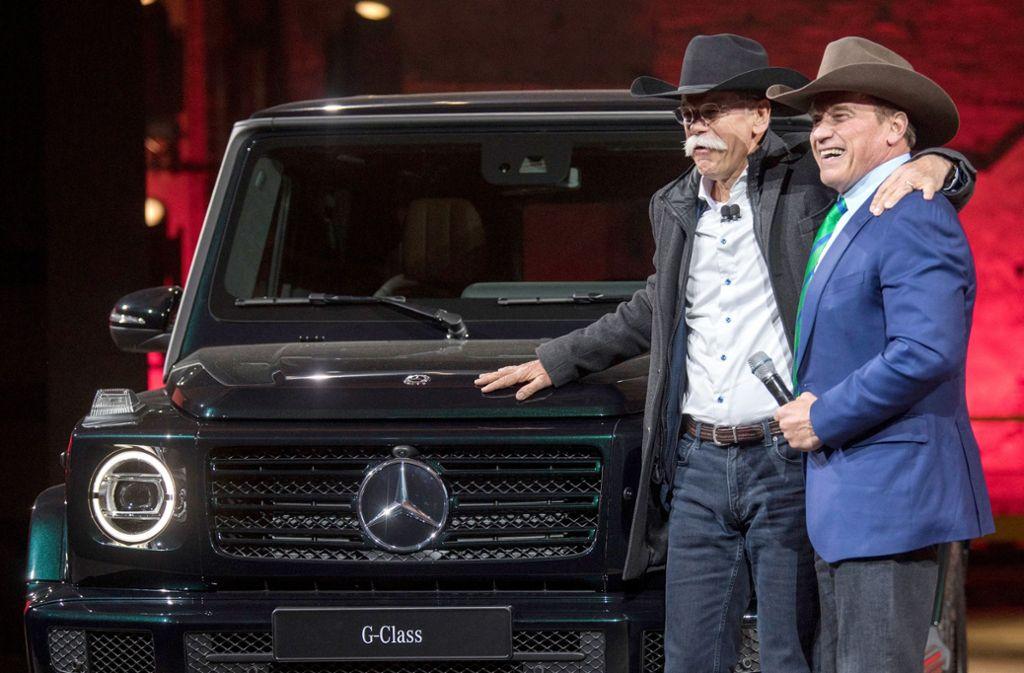 Bei der Einführung der aktuellen Modelle hatte sich Schwarzenegger, der von Ex-Daimler-CEO Dieter Zetsche bei der Detroit Auto Show 2018 auf die Bühne gebeten wurde, bereits eine elektrische Serienversion der G-Klasse gewünscht. Foto: dpa/Boris Roessler