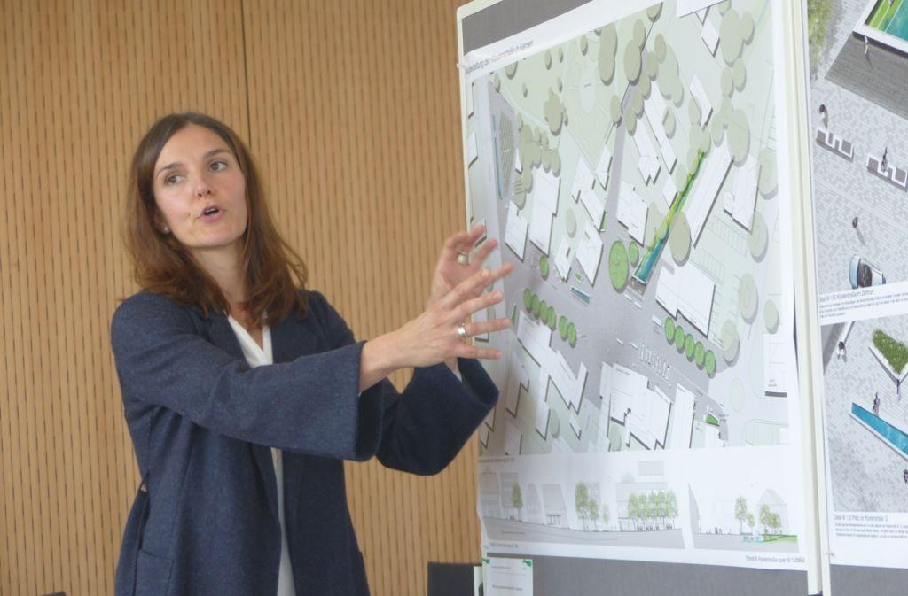 Sonja Kosina stellte den Entwurf für die Klosterstraße am Samstag vor. Foto: Hans-Dieter Wolz