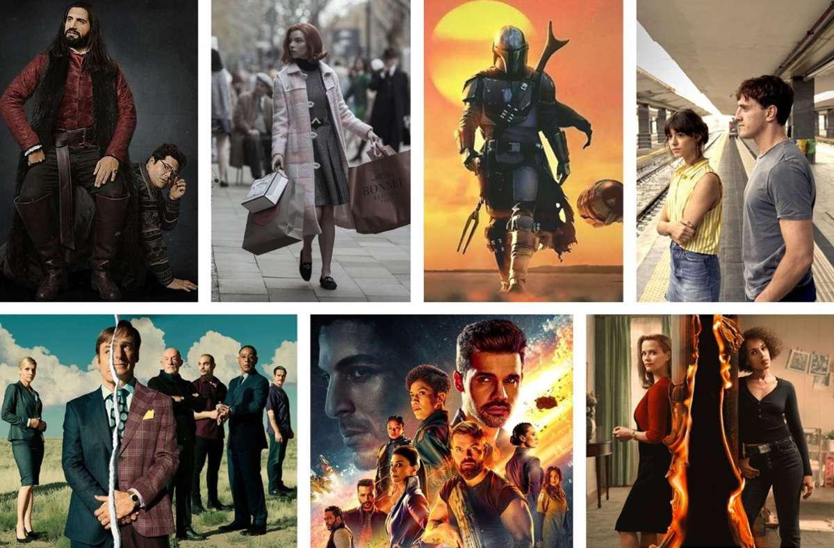 """Ist Ihre Lieblingsserie dabei? Zu unseren Favoriten zählten 2020 """"What we do in the Shadows"""", """"Das Damengambit"""", """"The Mandalorian"""", """"Normal People"""", """"Little Fires Everywhere"""", """"The Expanse"""" und """"Better call Saul"""" (von links oben im Uhrzeigersinn). Weitere Serien-Highlights des Jahres 2020 finden Sie in unserer Bildergalerie. Foto: Joyn, Netflix, Disney+, Starzplay, Amazon"""