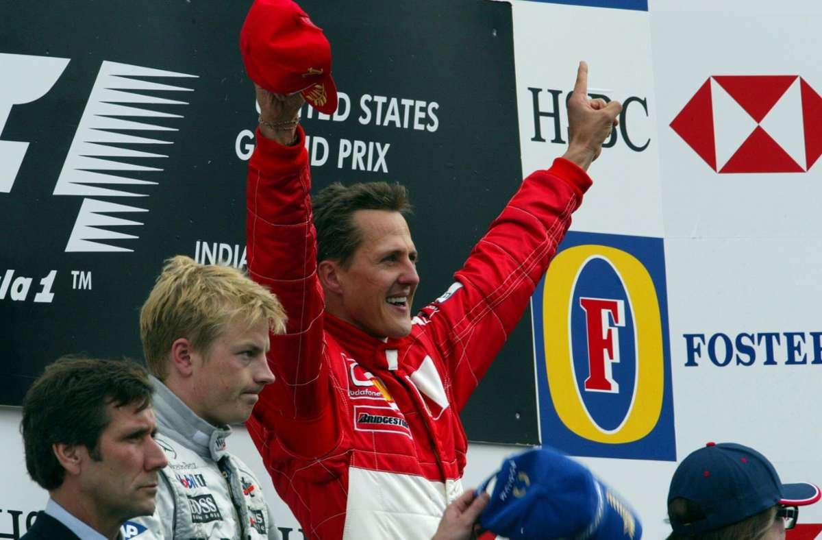 Michael Schumacher bei seinem vorletzten WM-Sieg im September 2003. Er ist der erfolgreichste Pilot der Formel-1-Geschichte. Foto: imago images / Motorsport Images/via www.imago-images.de