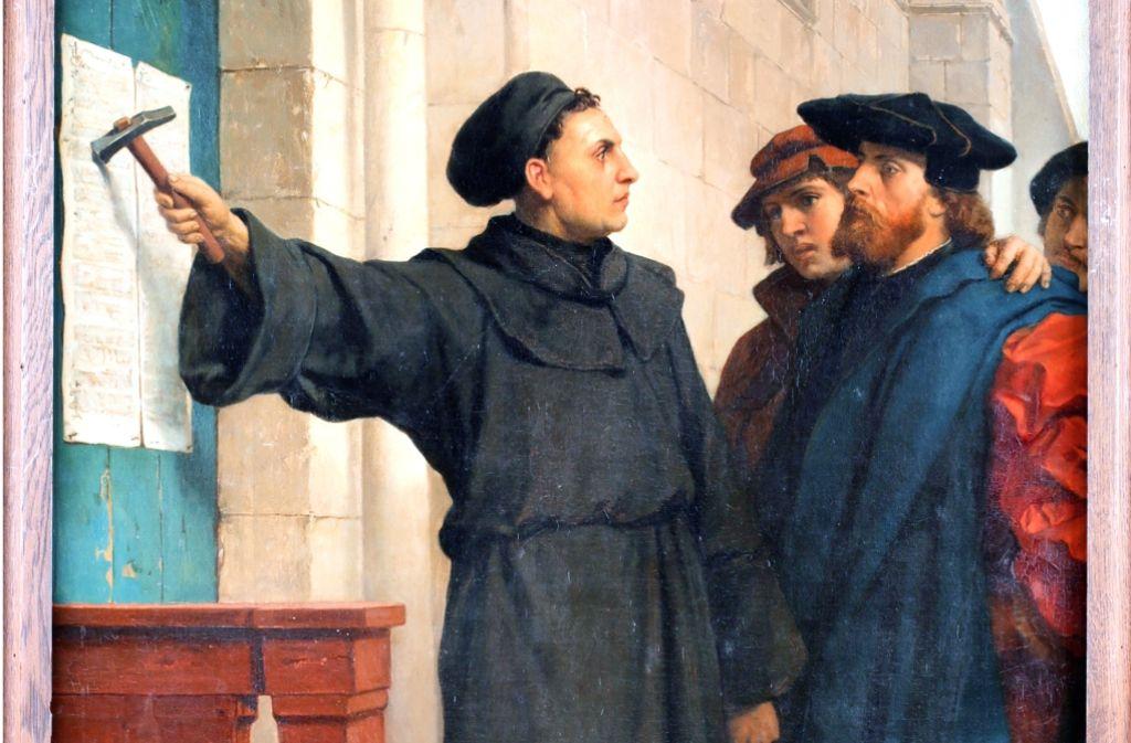 """Ferdinand Pauwels, """"Luthers Thesenanschlag"""", 1872 Foto: Wartburg-Stiftung Eisenach"""