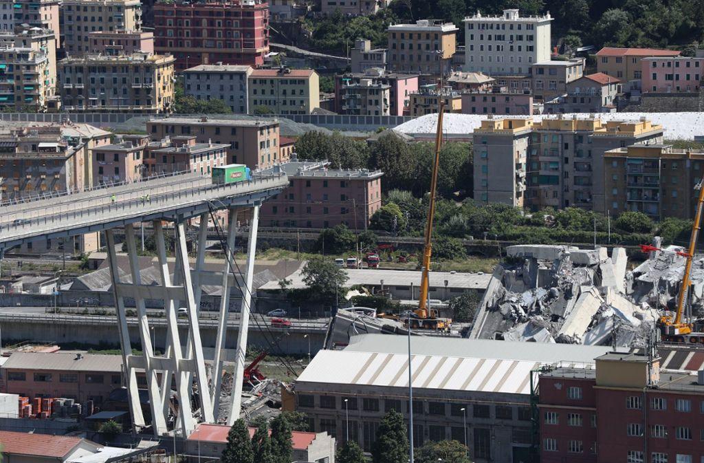 In Genua werden nach dem Unglück noch bis zu 20 Menschen vermisst. Foto: Xinhua