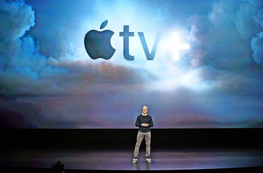 Tim Cook stellt Apple TV+ vor: Aber noch können die Kunden sich nicht einloggen. Foto: dpa