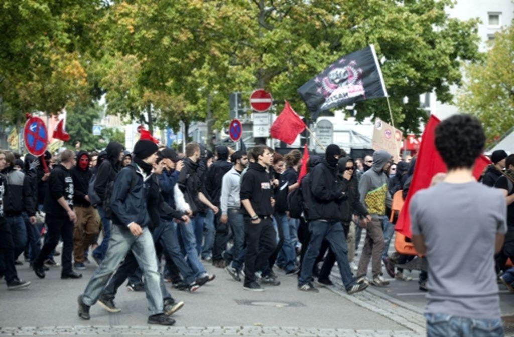 Am Samstag fand eine Neonazi-Demo in Göppingen statt. Auch linke Aktivisten versammelten sich in der Stadt. Foto: Horst Rudel