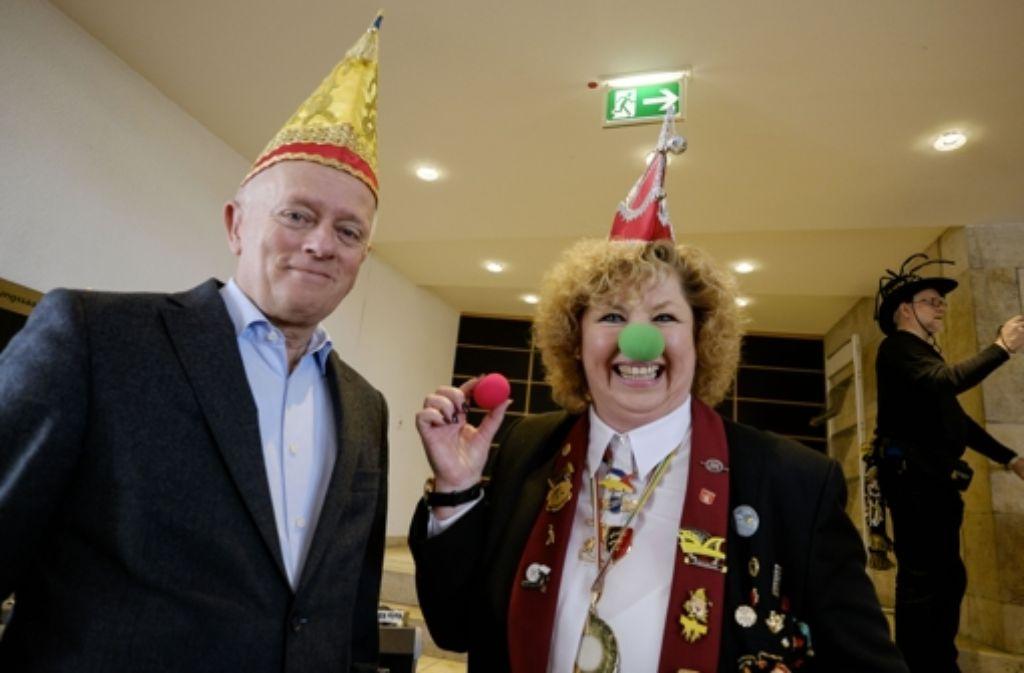Oberbürgermeister Fritz Kuhn empfängt die Faschingsgruppen im Stuttgarter Rathaus. Foto: Lichtgut/Leif Piechowski