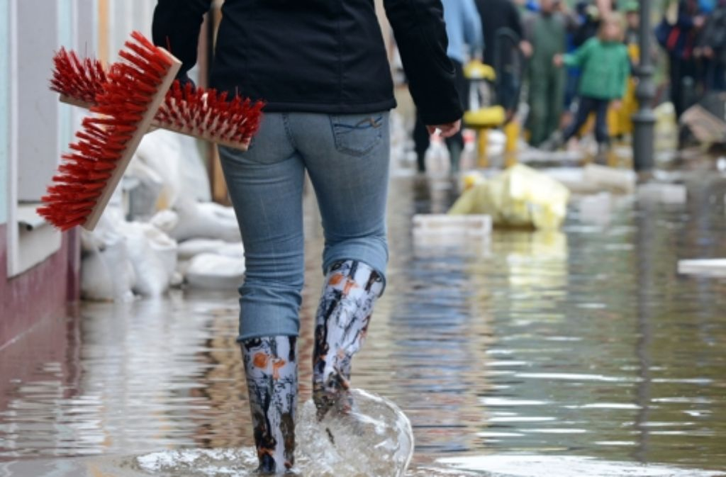 Die sächsische Stadt Grimma ist nach der Flut von 2002 wieder stark betroffen. Foto: dpa
