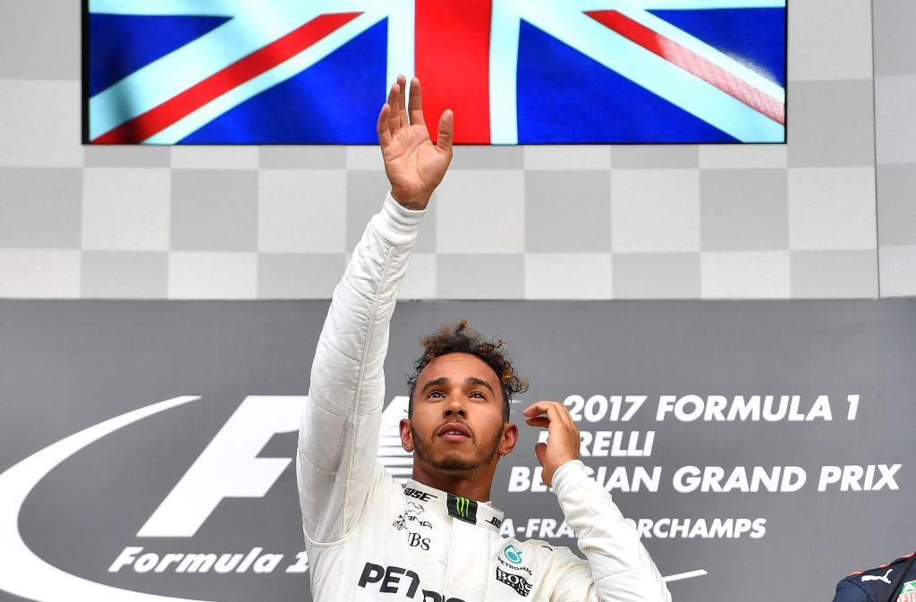 Mercedes-Fahrer Lewis Hamilton freute sich über den Sieg in Spa. Foto: AFP