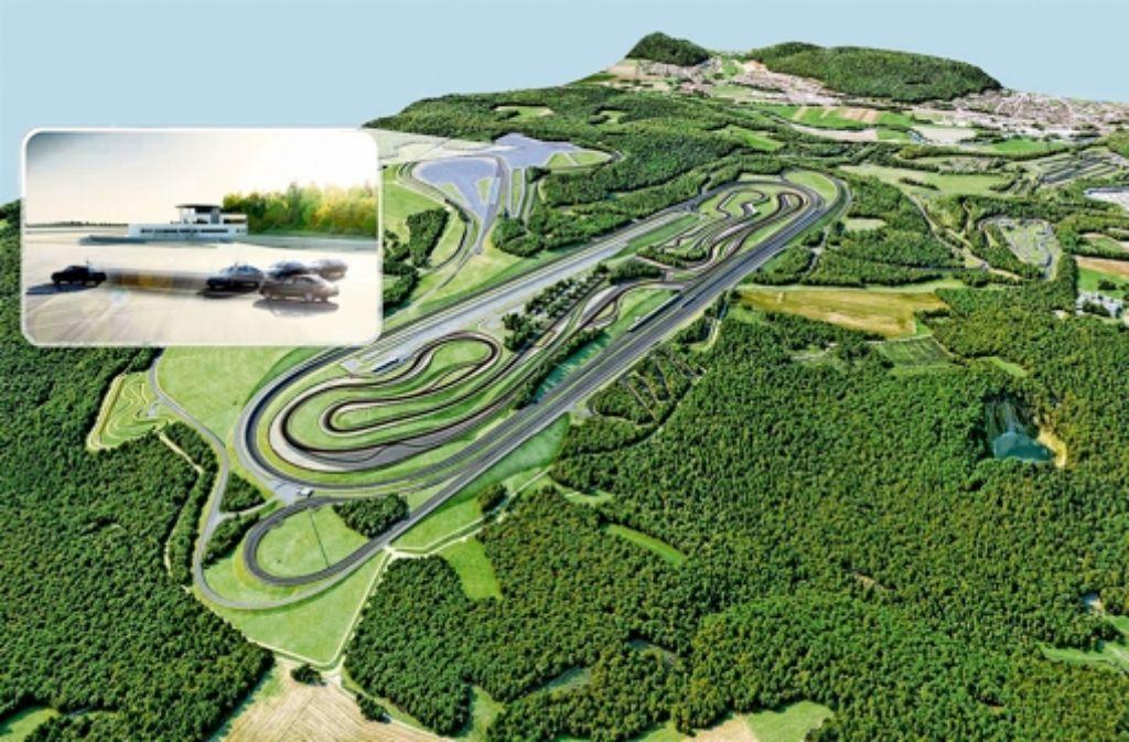 Links (kleines Bild mit Pfeil) von der eigentlichen Daimler-Teststrecke entsteht die Fläche, auf der Autos ohne Fahrer fahren. Foto: Repro: StZ