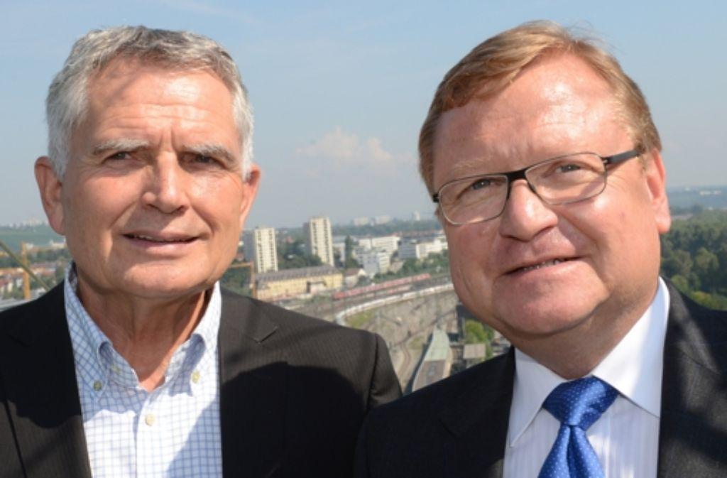 Bahn-Manager Manfred Leger (rechts) und Projektsprecher Wolfgang Dietrich blicken positiv in die Zukunft. Foto: dpa