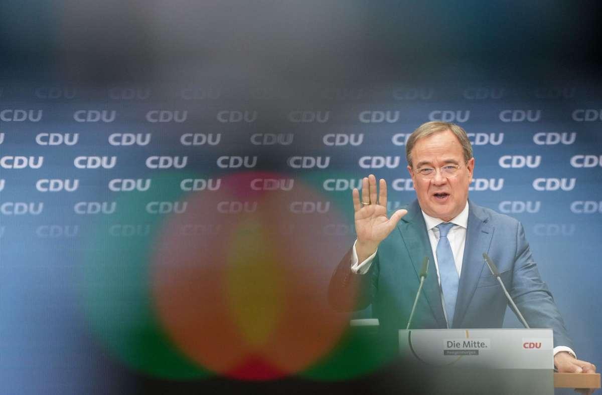 Armin Laschet stellt nach den Gremiensitzungen seiner Partei im Konrad-Adenauer-Haus das CDU-Sofortprogramm· für die Bundestagswahl vor. Foto: dpa/Kay Nietfeld