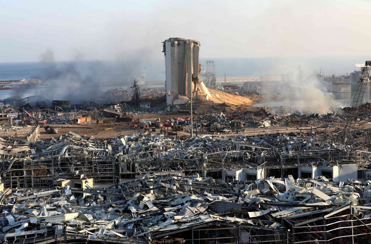 Beirut liegt nach der Explosion in Trümmern. Foto: AFP
