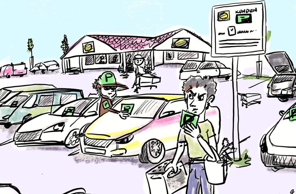 Auf dem Parkplatz des Filder-Einkaufszentrums ging es im vergangenen Jahr mitunter hoch her. Ein Unternehmen wurde beauftragt, um Pendler und Flughafenparker abzuhalten. Tatsächlich traf es häufig ganz normale Edeka-Kunden. Foto: Ilona Trimbacher