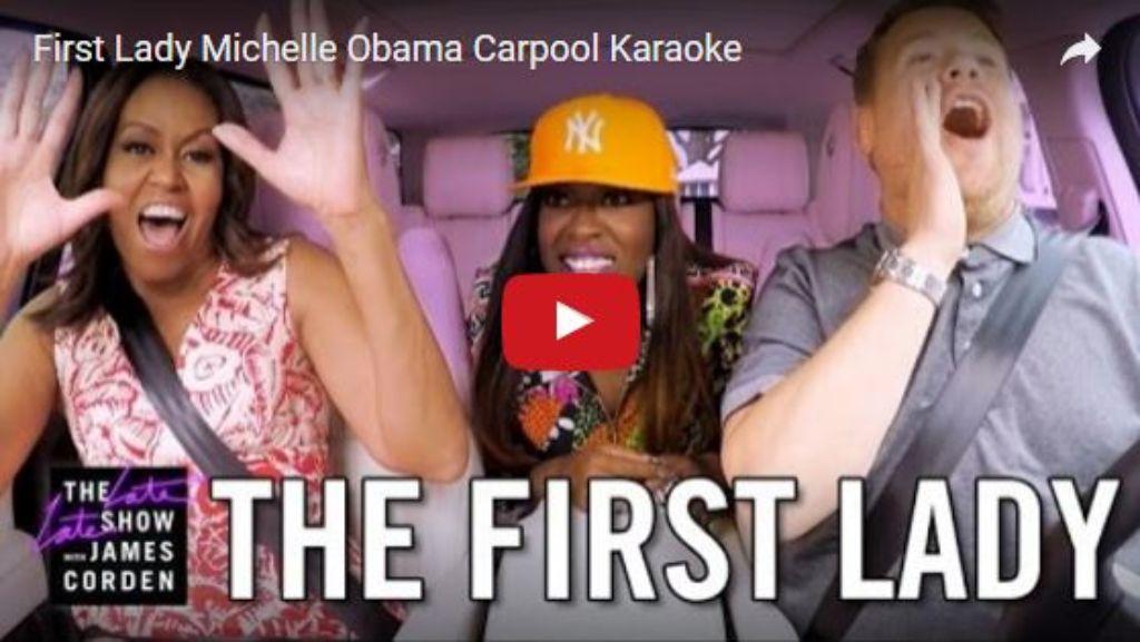 Macht im Netz Furore: Michelle Obama singt mit TV-Entertainer James Corden. Screenshot: Youtube/The Late Late Show with James Corden