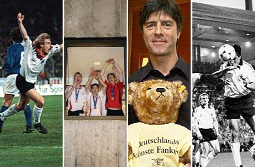 Länderspiele der deutschen Fußball-Nationalmannschaft in Stuttgart haben ganz eigene Geschichten - hier ein Blick in die Historie mit unter anderen Jürgen Klinsmann (links) und Joachim Löw. Foto: dpa, Pressefoto Baumann   Montage: SIR