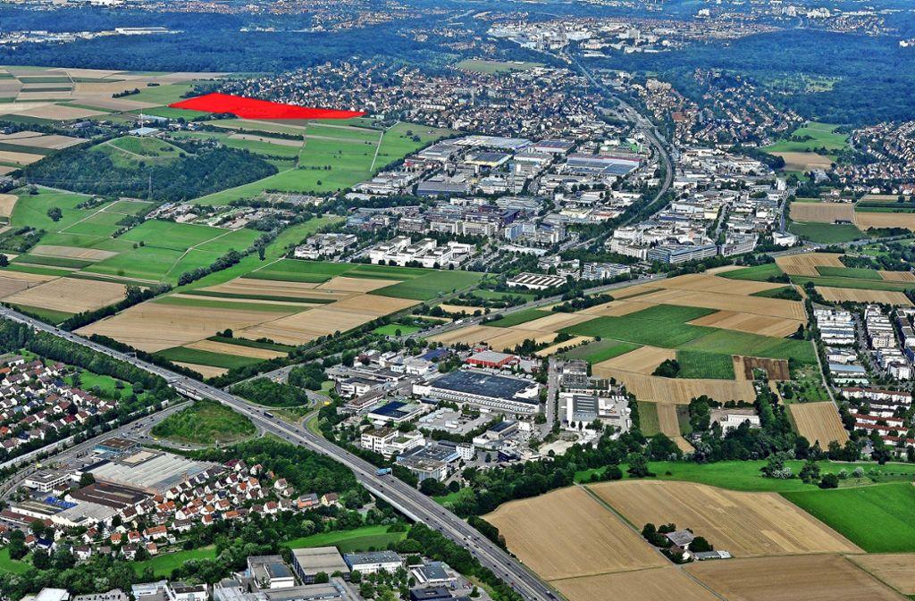 An der westlichen Grenze des Stadtteils Korntal nahe des Grünen Heiner entsteht das Neubaugebiet Korntal-West. Foto: Werner Kuhnle