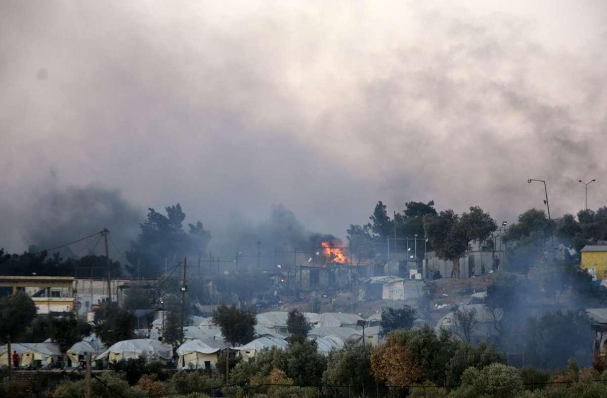 Das Feuer war vergangene Woche in der Nähe des Flüchtlingslagers ausgebrochen. Foto: dpa/Panagiotis Balaskas