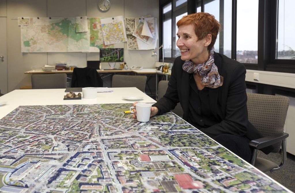 Beim Blick aus ihrem Bürofenster hat Corinna Clemens die Innenstadt vor Augen. Ein Luftbild gewährt  detaillierte Einblicke für die Planung. Foto: factum/Simon Granville